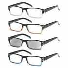 GAMMA RAY 4 Pack Spring Hinge Reading Glasses Unisex Readers with Magnification