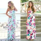 Women Strapless Floral Printed Contrast Color High Waist Elastic Maxi NC89
