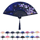 Chinese Hand Held Fan Bamboo Silk Butterfly & Flower Folding Fan Wedding DecBILJ