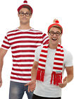 Mens Wheres Wally Costume Adult Waldo Instant Fancy Dress Kit Book Week Outfit