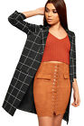 Womens Checked Print Open Long Sleeve Faux Pocket Jacket New Ladies Blazer 6-14