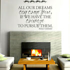 All Our Dreams Wall Sticker Inspired Walt Disney Word Vinyl Room Removable Decor