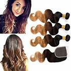 350G Brazilian Human Hair 1B/4/27 Body Wave With 4x4 Lace Closure Hair Extension