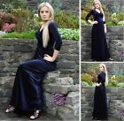 Long Formal Evening Gown Elegant Christmas Party Dress Navy Blue Velvet