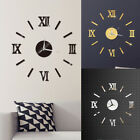 US Modern Large 3D Mirror Surface Wall Clock Sticker Home Office Room DIY Decor