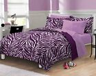 NEW Exotic Zebra Purple White Microfiber Teen Bedding Comforter Sheet Set