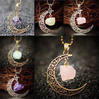amethyst jewelry - Rose Quartz Moon Gemstone Pendant Natural Crystal Healing Stone Necklace Gift