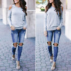 womens crew neck jumpers - Womens Ladies Long Sleeve Crew Neck Knitted Cut Out Cold Shoulder Jumper Top NEW