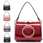 Ladies Mock Patent Leather Shoulder Bag Cross Body Clutch Bag Handbag MA34974