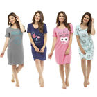 Ladies Short Sleeve Nightie Nightwear Print NightDress Night Tee 8-22