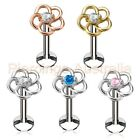 16G CZ Flower Internally Threaded Labret Monroe Lip Bar Body Piercing Jewellery