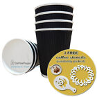 Disposable Insulated Black Ripple Paper Cups, Lids + 3 FREE Coffee Stencils