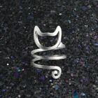Uk Twine Bind Hollow Cat 925 Sterling Silver Plt Adjustable Open Band Thumb Ring