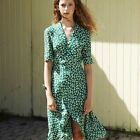 womens French style green flower print dress sexy V-neck Vintage ladies Dress