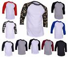 DreamUSA Men's Casual 3/4 Sleeve Raglan Baseball Jersey T-Shirt