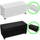#Storage Ottoman Flip-Over Tray Top Coffee Table Foot Rest Stool Seat Black/Whit