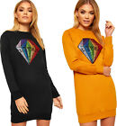 Womens Long Sleeve Sequin Diamond Slogan Print Sweatshirt Ladies Jumper Dress