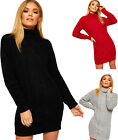 Womens Polo Neck Cable Knitted Long Sleeve New Ladies Mini Bodycon Jumper Dress
