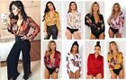 Flower Floral Print Wrap Front Plunge Neck Silk Satin Bodysuit Shirt Blouse Top