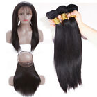 360 Frontal Closure with 3 Bundles 100% Virgin Human Hair Straight Body Wave