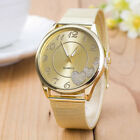 Waterproof Women Ladies Watches Gold Stainless Steel Mesh Band Analog Wristwatch
