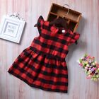 Toddler Kids Baby Girls Summer Plaid Dress Pageant Party Cas