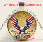 Bald eagle and Flag Cabochon Silver/Bronze/Black/Gold Glass Chain Necklace #5054