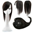 "Base 4.3''x4.7"" Womens Human Hair Topper Hairpiece Toupee Oblique Bang 16inch"
