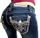 Womens Rock Revival Jeans Low Rise Tibbie Rhinestone Bootcut Stretch Dark $174