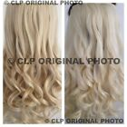 Platinum White Golden Blonde Clip In Hair Extensions Synthetic 1PC Thick Curly