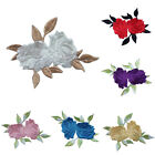 Rose Flower Leaves Embroidery Iron On Applique Patch  abordada apliques BH