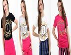 Womens Ladies Short Sleeves Floral Embroider Vouge Print T-Shirt Top 8-14