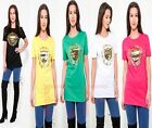 Womens Ladies Short Sleeves Gold Foil Tiger Print Crew Neck T Shirt Vest Top