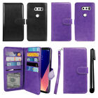 "For LG V30 6"" LG V30+ Plus H930 VS996 H931 Wallet Cover Case Wrist Strap + Pen"