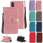 PU Leather Wrist Strap 3D Embossing Stand Folio Case Cover for iPhone X 2017