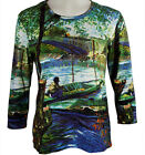 Breeke & Company Monet - Boat in Pond Cotton Micro Blend Top