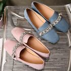 Womens Shoes Shiny Rhinestones Square Toe Loafers Leisure Flats Moccasins 2018