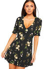 Womens Plunge V-Neck Short Sleeve Floral Print Lined Mini Dress New Ladies Frill