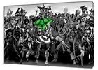 BLACK WHITE MARVEL CHARACTERS PHOTO  PRINT ON FRAMED CANVAS WALL ART