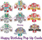 HAPPY BIRTHDAY CARD POP UP 18 21 30 40 50 60 70 80 90 WIFE HUSBAND LOVE RED ROSE