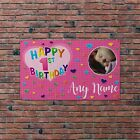 Personalised Pink Happy Birthday Photo Flag Banner Party Decoration 4 Eyelets