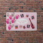 Personalised Happy Birthday Party Photo Banner Pink Balloons Flag & 4 Eyelets