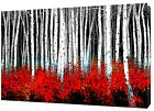 FOREST AND RED FLOWERS PHOTO  PRINT ON WOOD  FRAMED CANVAS WALL ART