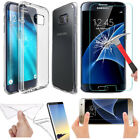 Clear TPU Gel Case For Samsung Galaxy Models + Tempered Glass Screen Protector
