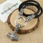 Viking Mjolnir Thor's Hammer Silver Pendant With Raven Real Leather Necklace