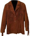 Brown Cowboy Suede Leather Fringe Style Western Wear Leather Coat Jacket 80s