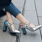 Womens Block High Heel Rhinestone Chinese Faux Leather Shoes Pumps Buckle Shiny