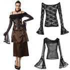 Victorian Shirt Black Lace Long Sleeve Flare Sleeve Off The Shoulder Blouses Tee