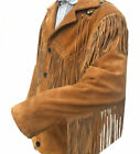 Mens Western Wear Suede Leather Jacket Cowboy Style Fringe American Leather Coat
