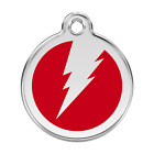 Red Dingo Dog ID, Pet Tag, Charms FREE Personalized Engraving LIGHTNING BOLT